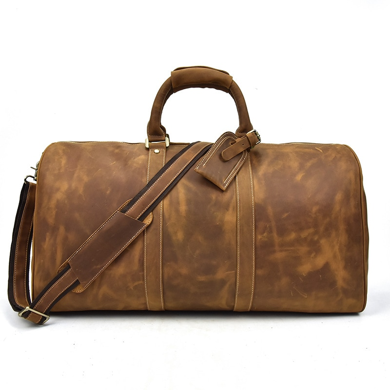 Retro leather men's travel bag luxury leather large-capacity handbag shoulder messenger duffel bag