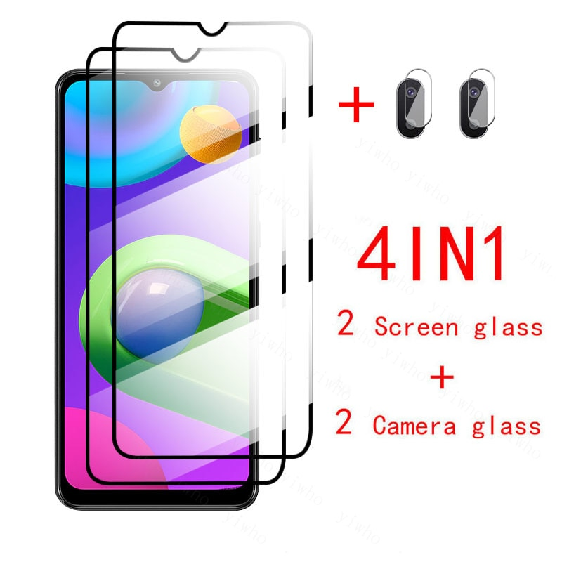 4in1 Protector glass For Samsung M02 Screen protector Camera lens film on Galaxy M 02 2021 SM-M022F