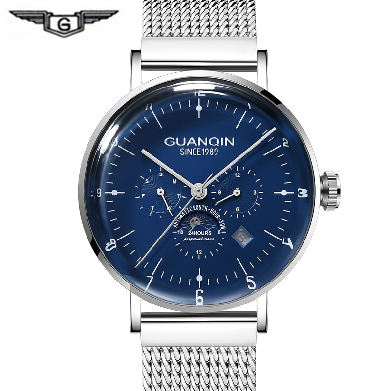 GUANQIN reloj mecánico esqueleto hombre 2019 reloj de negocios automático de acero resistente al agua marca superior reloj de lujo masculino
