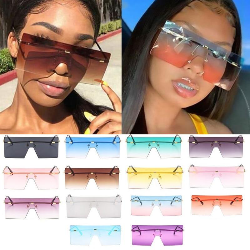 Wholesale 14 Colors One Piece Rimless Square  Women's Sunglasses Alloy Flat Brown Sun Glasses Men Shield Hip Hop Shades Ink Bulk