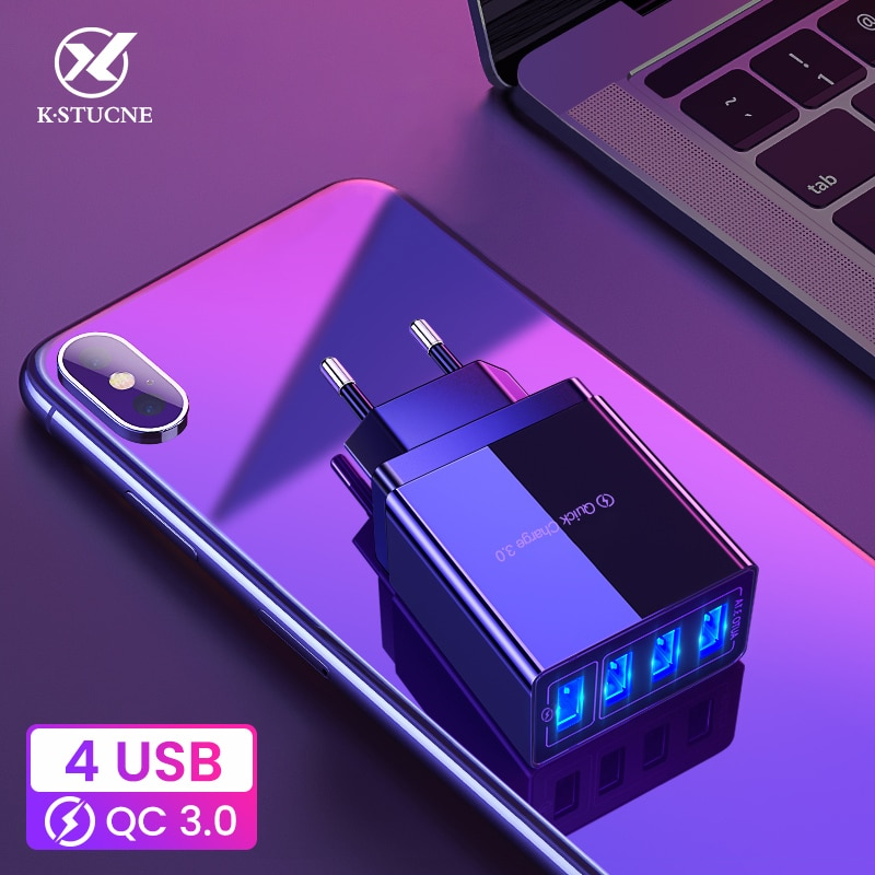 48W carga rápida 4,0 3,0 cargador USB de 4 puertos EU US cargador rápido USB para iPhone 11 Pro Samsung S10 xiaomi Huawei adaptador de corriente USB