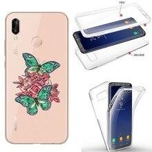 Coque Y7 2019 noeud papillon intégral emeraude rose fleur transparente