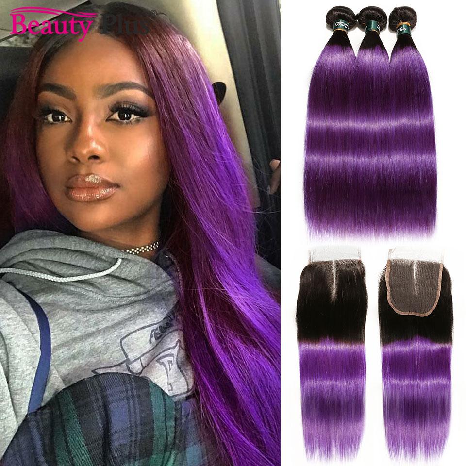 Purple Ombre Bundles with Closure Brazilian Human Hair Weave Bundles With Closure Beauty Plus Remy 2 Tone 3 Bundles With Closure