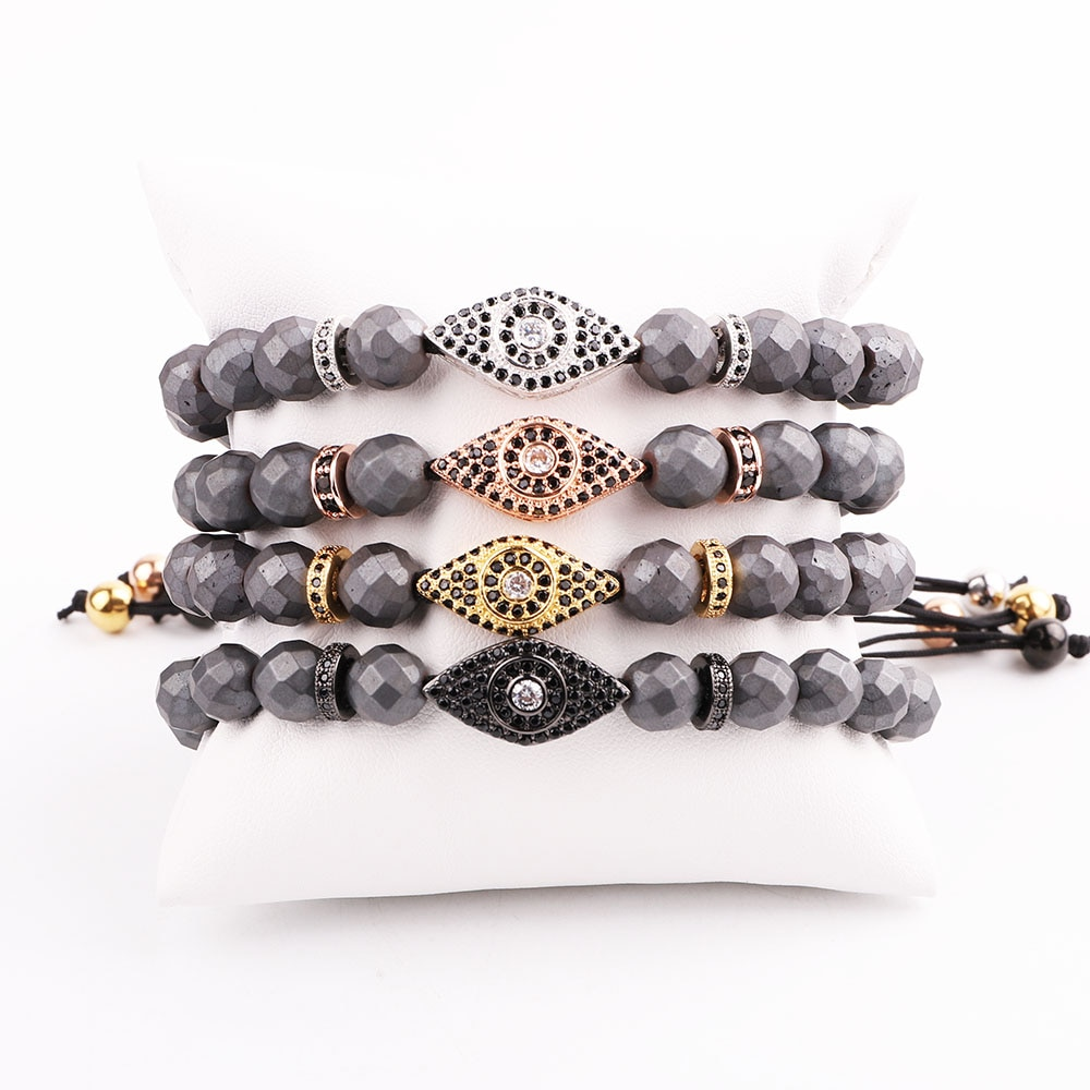 New Design Men Bracelet Faceted Hematite Beads CZ Micro Pave Eye Charm Friendship Macrame Adjustable
