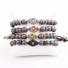 New Design Men Bracelet Faceted Hematite Beads CZ Micro Pave Eye Charm Friendship Macrame Adjustable