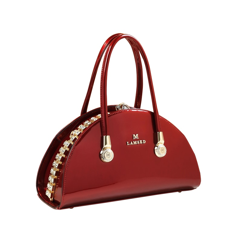Arrival High Quality Handle Bolsa Patent Leather Women's Handbag Famous Brand Lady Red Wedding Clutch Shell Messenger Tote New Top