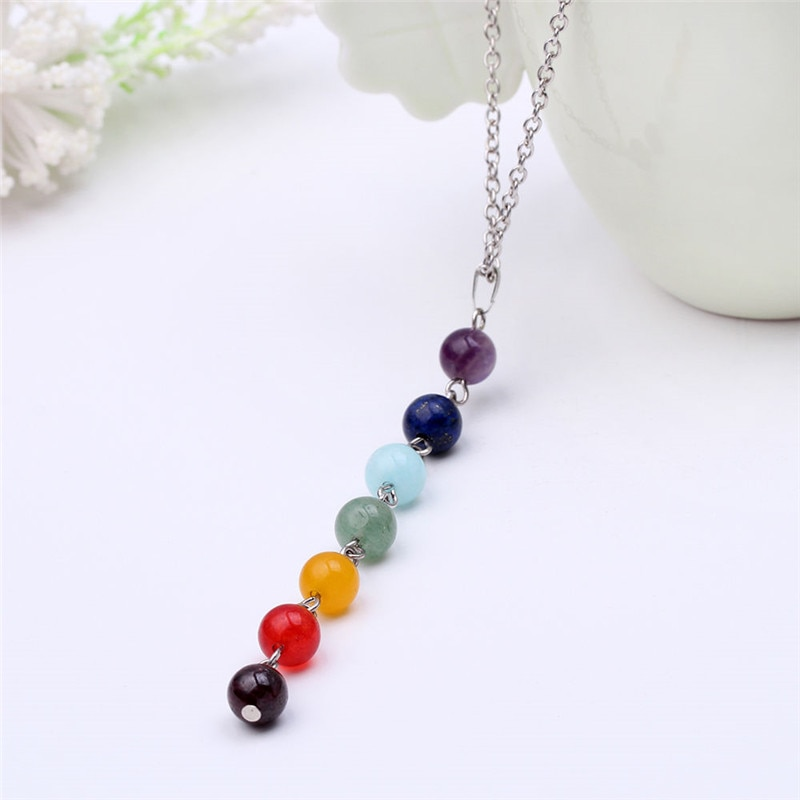Colorful Gem Stone Beads Necklace For Women Yoga Stone Pendant O Chains Reiki Healing Balancing Women Necklaces недорого