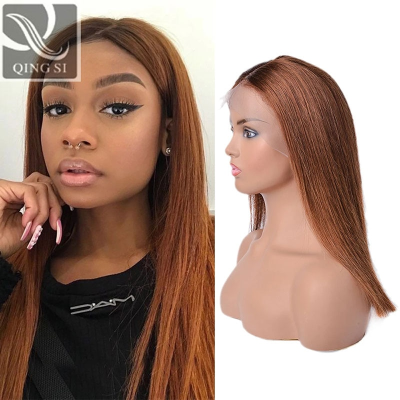 Ombre brown bob Wigs Frontal Lace Wigs Straight Bob Lace Front Human Hair Wigs With Baby Hairs Brazilian Wigs For black women