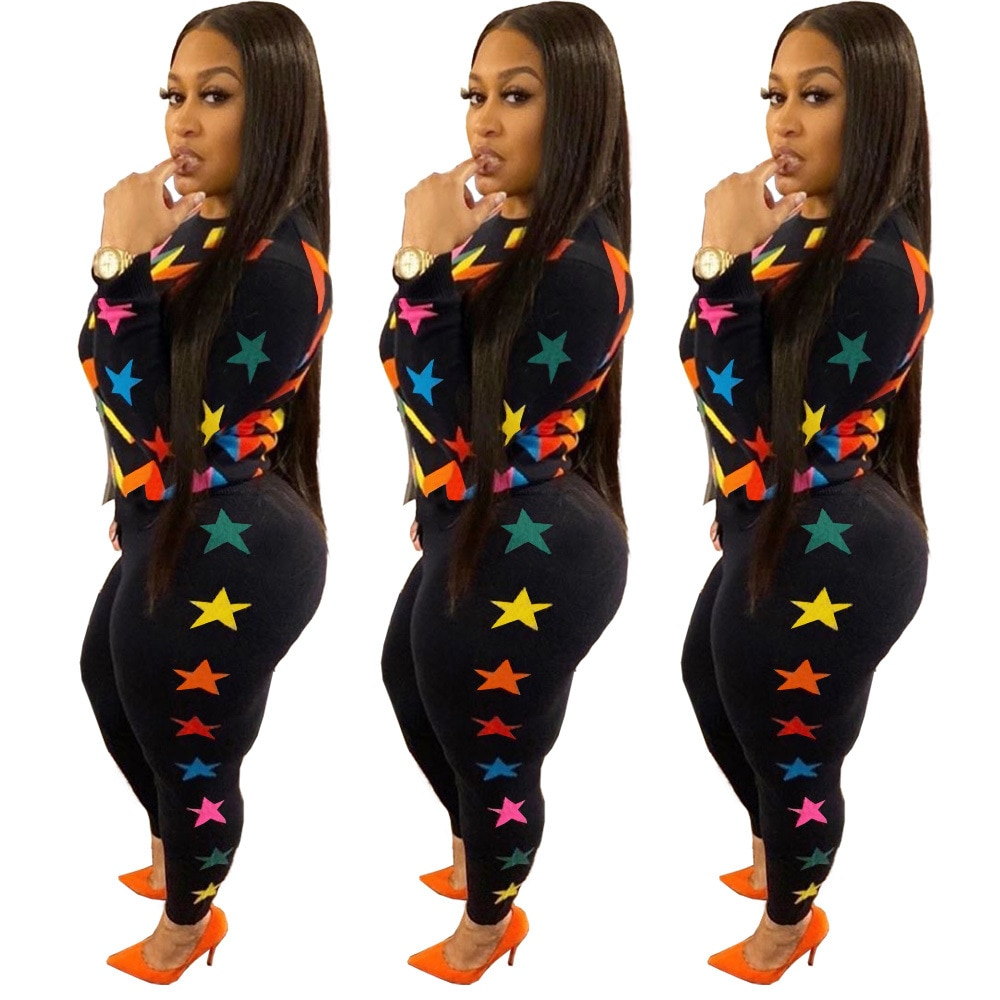 Ursuper European and American Women's Clothing Sexy Fashion Nightclub Geometric Stars Pattern Contrast Color Two-Piece Suit