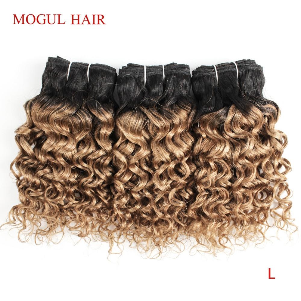 MOGUL HAIR 4/6 Bundles 50g/pc T 1B 27 Dark Root Honey Blonde Ombre Brazilian Water Wave Remy Human Hair Short Bob Style