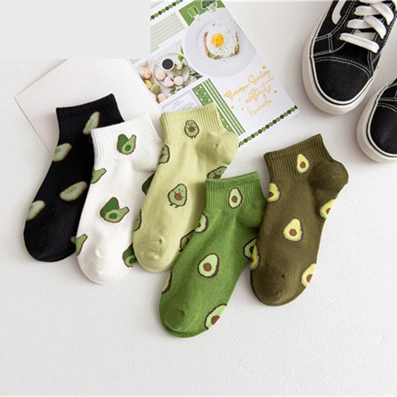 5 pares/lote fruta abacate feminino barco meias bordado meias feliz algodão tornozelo engraçado das mulheres dos homens verão casual meias atacado