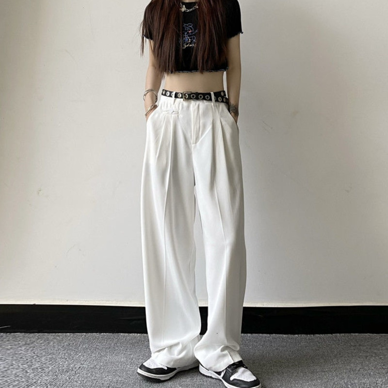 Черные/белые повседневные мужские модные брюки, мужские костюмные брюки, корейские свободные прямые классические брюки, мужские брюки с ши...