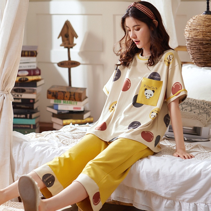 Pyjamas femmes été coton à manches courtes Capris costume Version coréenne doux et beau coton femmes vêtements de maison Pj ensemble