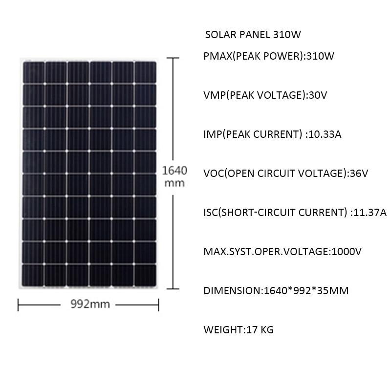 Panel Solar de 24V, 310W, 2480W, 3100W, 3720W, 4340W, 5000W, 5600W, 6200W, 220 W, cargador de batería Solar de 110v, sistema de rejilla de encendido y apagado para jardín y casa