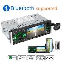 Автомобильный видеоплеер 4,1 дюйма 1 Din радио MP5 Bluetooth 4,2 аудио HD экран ISO Дистанционное многоцветное освещение TF USB быстрая зарядка