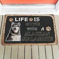 3d life is better with a alaskan malamute custom doormat indoor doormat non slip door floor mats decor porch doormat