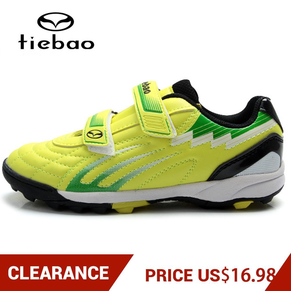 Clearance! TIEBAO Children's Soccer Shoes Boys Girls Rubber Sole Sports Training Football Shoes TF Turf Football Boots EU 28-35