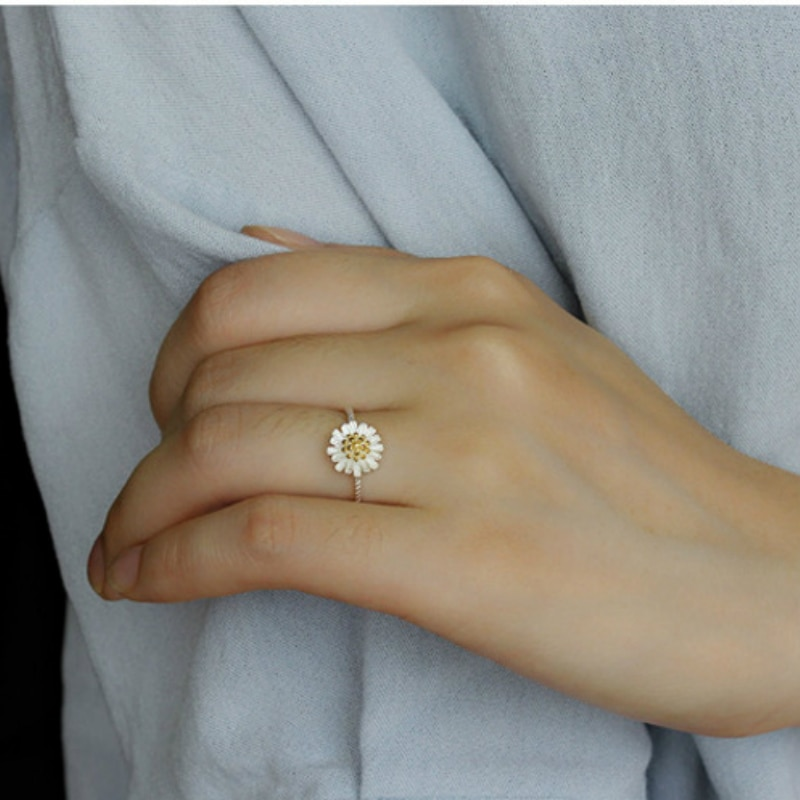 Wholesale Fashion Silver Color Rings Little Daisy Open Ring 925 Flower Open Finger Rings For Women Wedding Jewelry