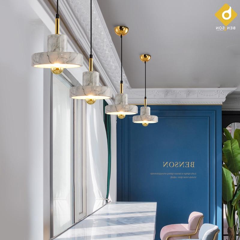 Lámpara colgante moderna de mármol, lámpara colgante nórdica, luminaria, lámpara colgante de comedor, cabecera, barra redonda, suspensión, iluminación de cocina