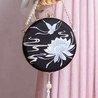 2021 new arrival flower floral butterfly embroidered jade tassel golden chain pearl frame box crossbody bag