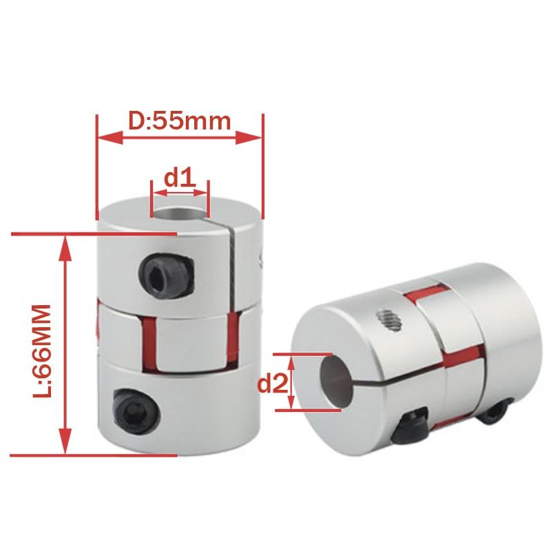 Acoplador Flexible de abrazadera de ciruela D55L66 tamaño del eje acoplamiento del eje de la mandíbula 10/12/14/16/18/20/22/24/25/26/28mm D55 L66