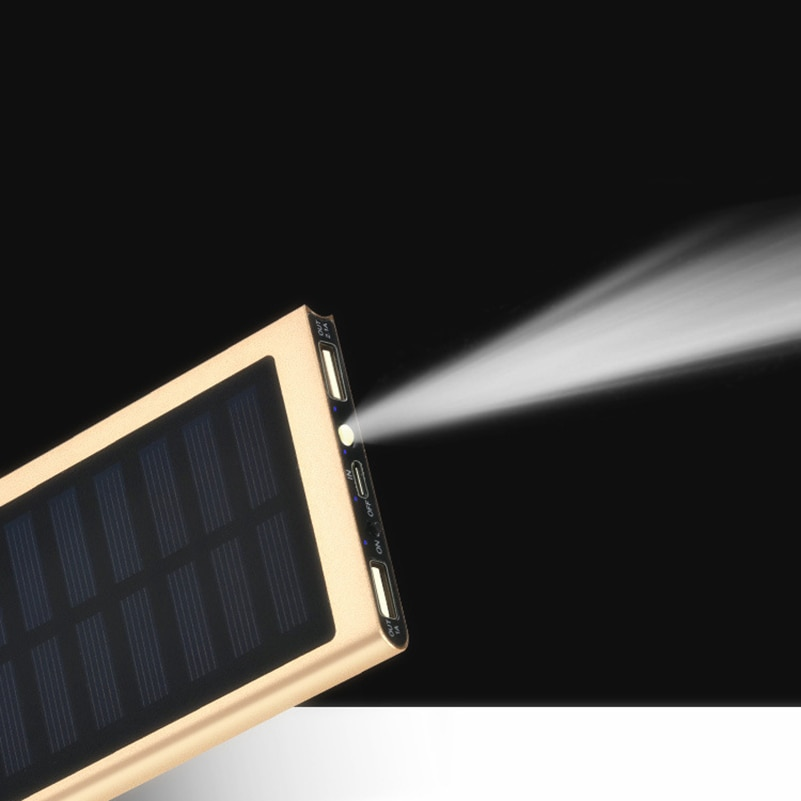 20000mAh Solar Power Bank External Battery quick charge Dual USB Powerbank Portable Mobile phone Charger for iPhone 8 X Xiaomi