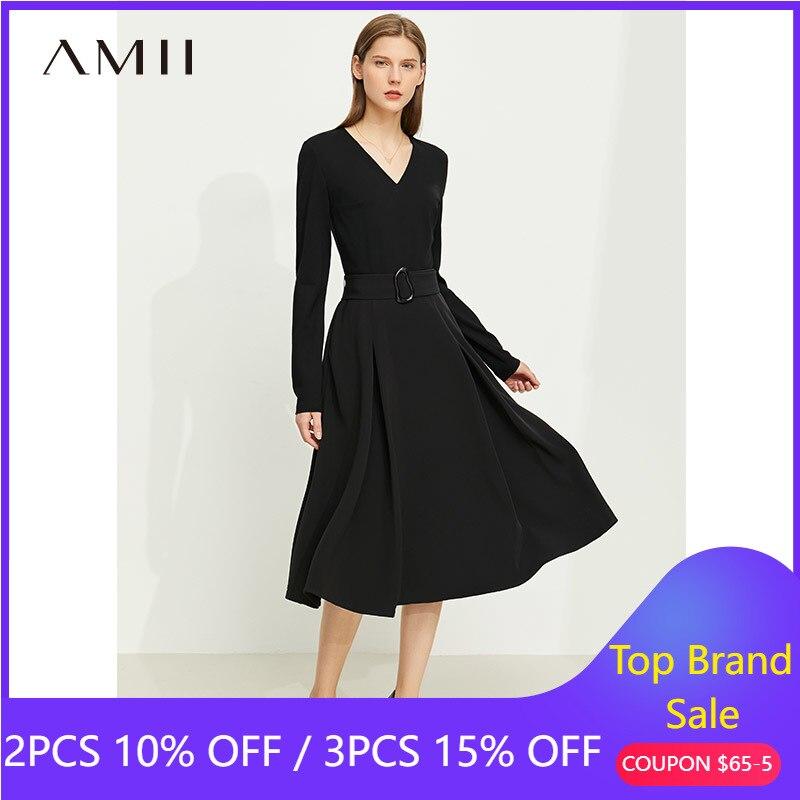 Amii بساطتها الخريف فساتين حريمي موضة Vneck عالية الخصر فستان أنيق وشاحات كم كامل فستان أنثى Vestidos 12140894