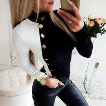 Col roulé bouton haut pour femme et Blouse 2019 à manches longues automne noir-blanc Patchwork dame chemise bureau travail femme Blouse D35