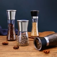 stainless steel salt and pepper mill manual food herb grinders spice jar containers kitchen gadgets bottles glass