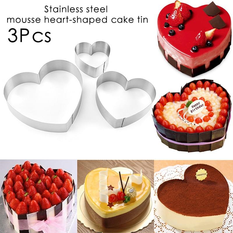 3 juegos de varias especificaciones anillo de mousse de acero inoxidable molde de pastel en forma de corazón herramientas de horneado DIY