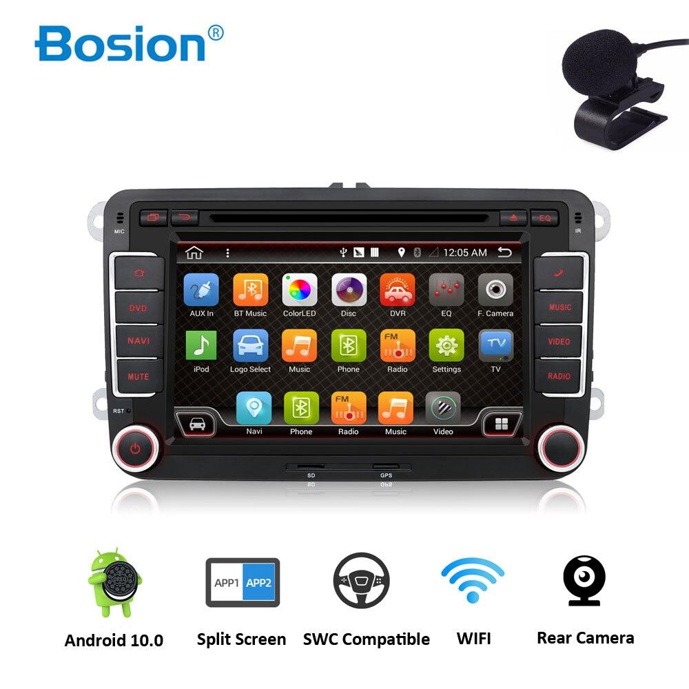 Player de dvd para carro, quad core android 10 gps 2din 7 Polegada para volkswagen vw skoda polo passat b6 cc tiguan golf 5 fabia câmera wifi 1080