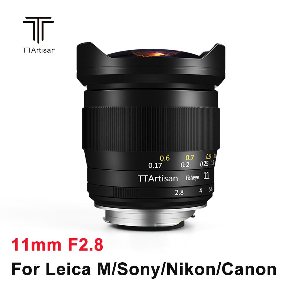 TTArtisan 11mm F2.8 풀 프레임 카메라 렌즈 Fisheye Edge for Sony E Leica M 니콘 Z 마운트 카메라 A7R3 A7S A6300 Z6 Z7