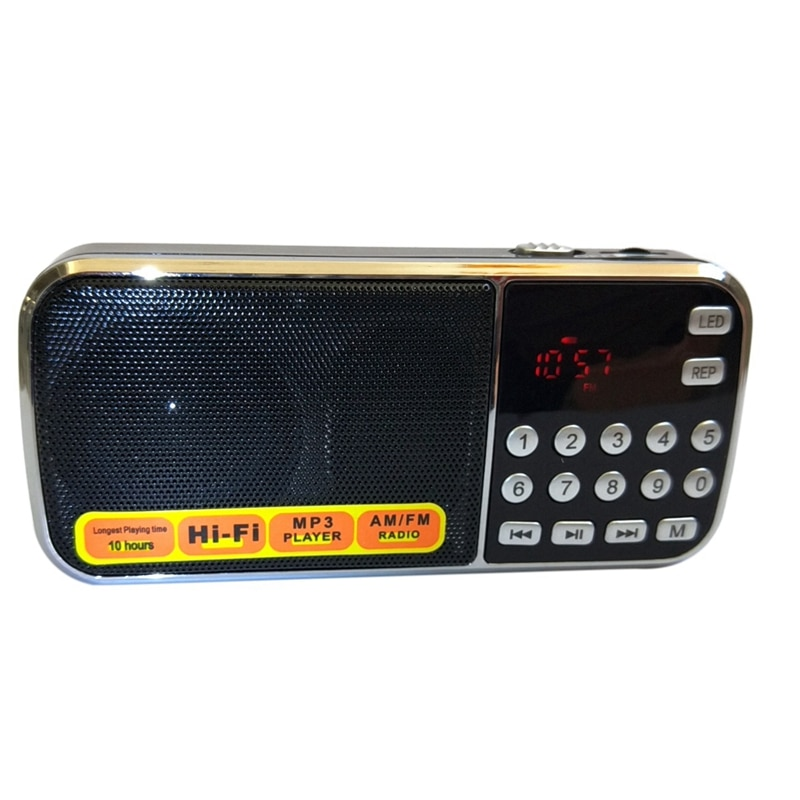 L-088AM portátil de banda Dual, Mini receptor de Radio AM FM recargable Digital de bolsillo con reproductor de Audio MP3, altavoz y música