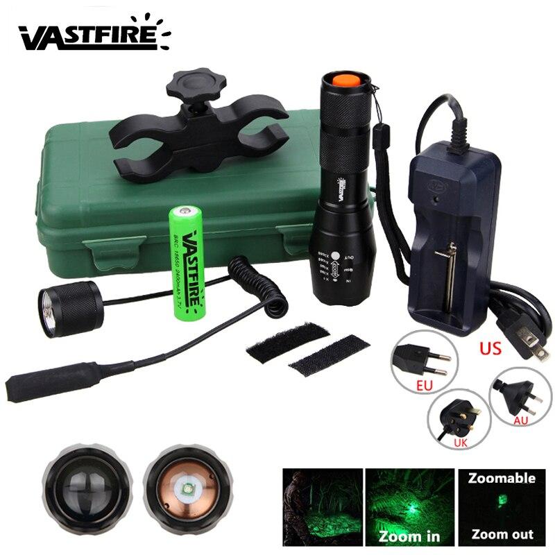 5000лм зеленый охотничий флэш-светильник, светильник для оружия, Тактический Регулируемый фокус, масштабируемый фонарь + крепление для винто...