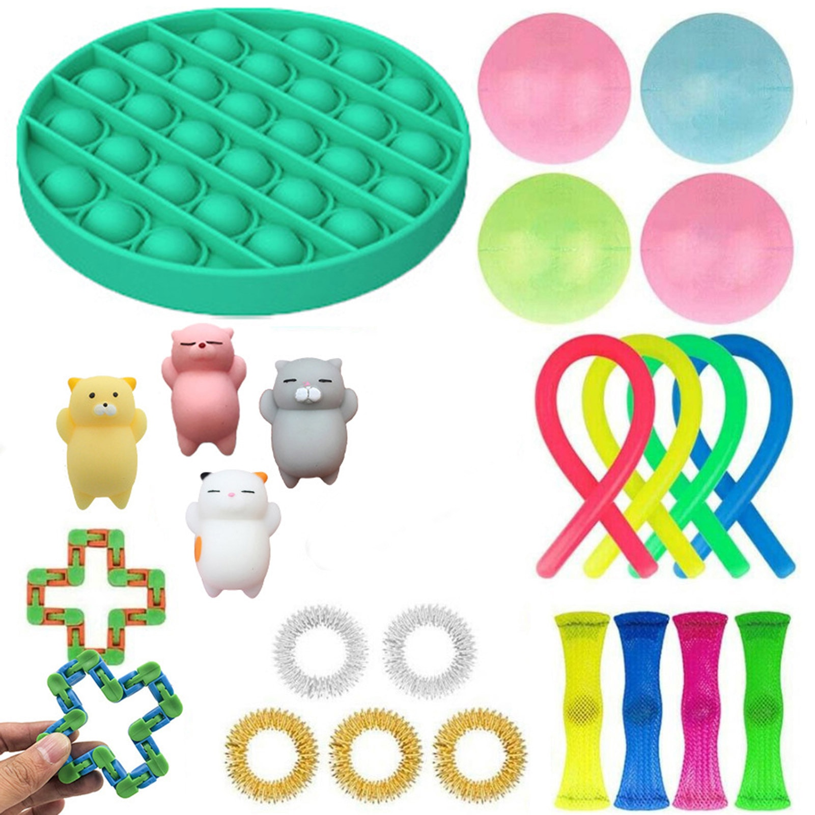 25Pcs Non-toxic Stress Relieving Toys Squeezed Bubble Track Chain Glue Noodles Decompressive Sensory Toy Set For Kids Adults enlarge