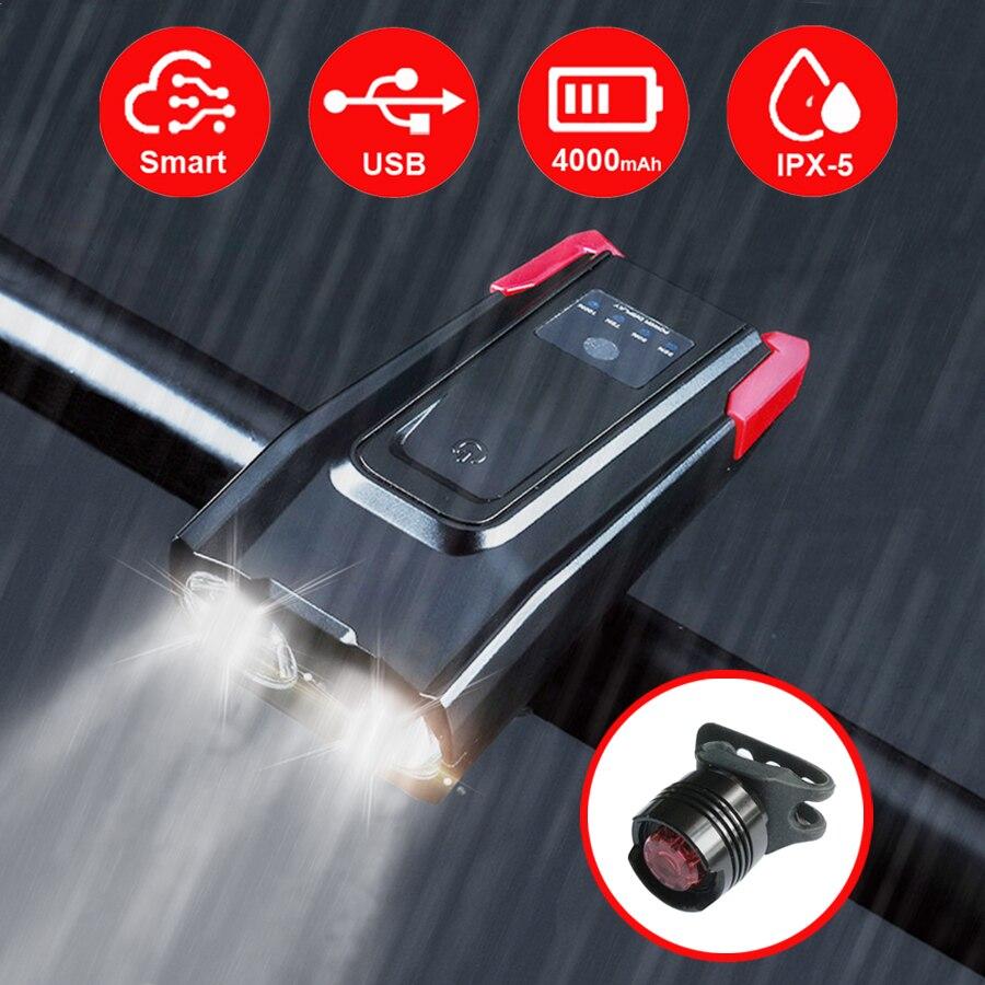 Conjunto de luz frontal de bicicleta de inducción de 4000 mAh con linterna inteligente recargable USB con bocina 800 lúmenes LED para bicicleta