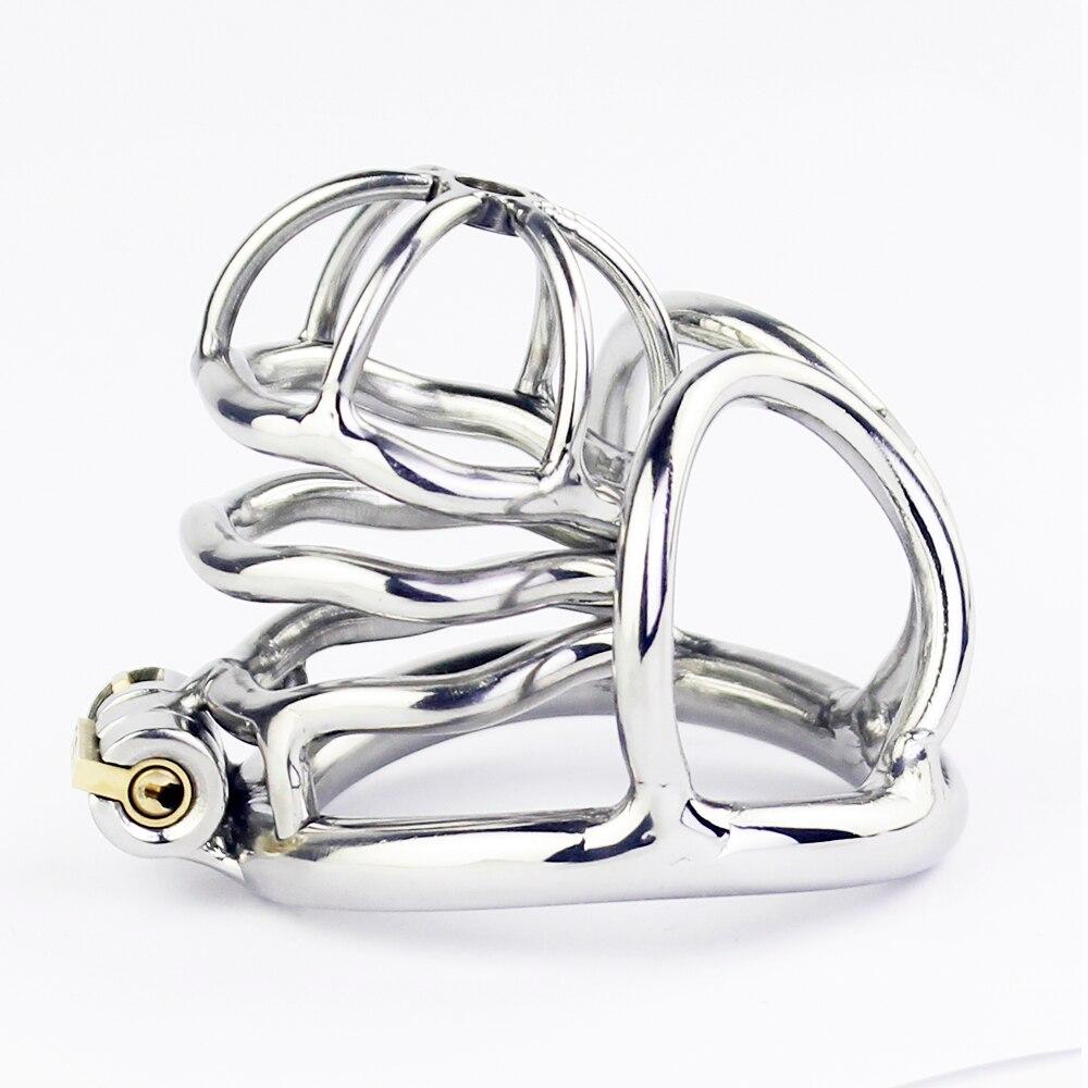 Aço inoxidável stealth lock galo gaiola com escroto bondage anel masculino dispositivo cinto de castidade pênis bloqueio galo anel brinquedos sexuais para homens