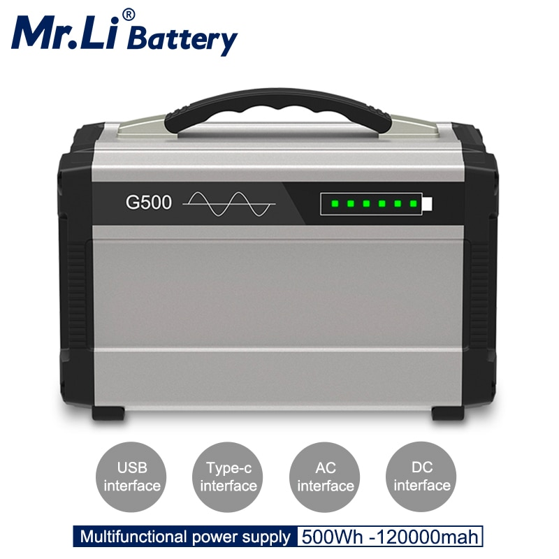 500W 110V 220V estación de energía portátil banco de energía AC aleación de aluminio AC DC salida USB para Sistema Solar electrodomésticos