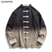 Dégradé couleur hommes Style chinois col Mandarin veste grenouille fermetures rétro vêtement lavé coton sergé homme col montant manteau