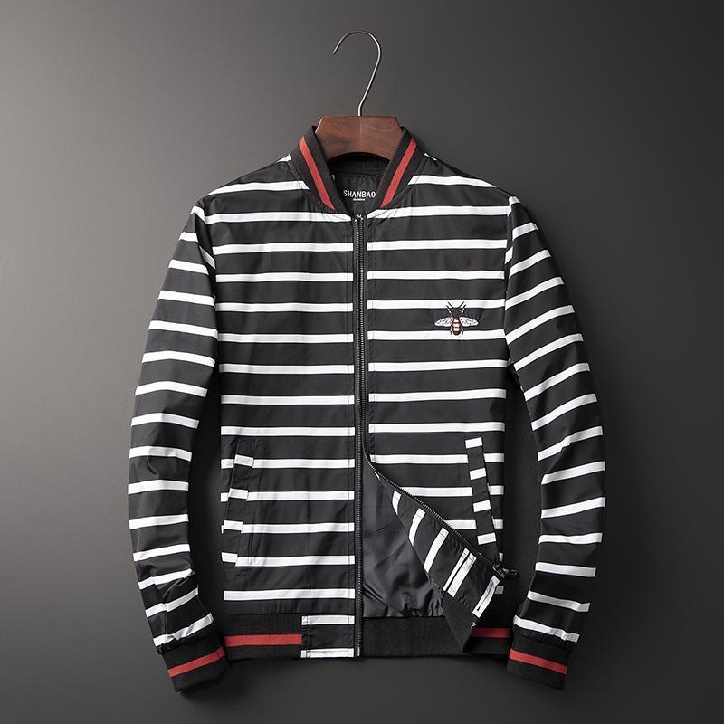 Nuevo Hombre lujo Rib Sleeve bordado abeja rayas alta pareja béisbol abrigos y chaquetas abstracto digital coat Motor # N05