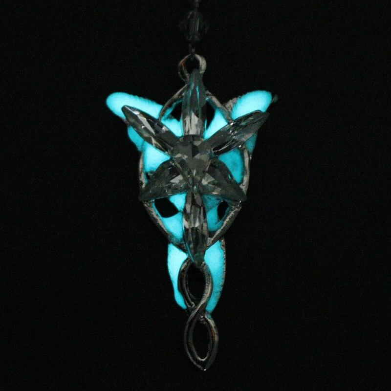 Collier lumineux cristal crépuscule étoile Arwen Evenstar pendentif pull Collier accessoires femmes princesse chaîne Collier cadeau