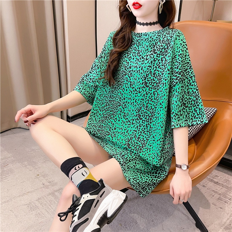 Women Short Sleeve O-Neck Leopard Print Clothes Casual Loose Harajuku Style Plus Size Fashion Trend Print Ins Tshirt  - buy with discount