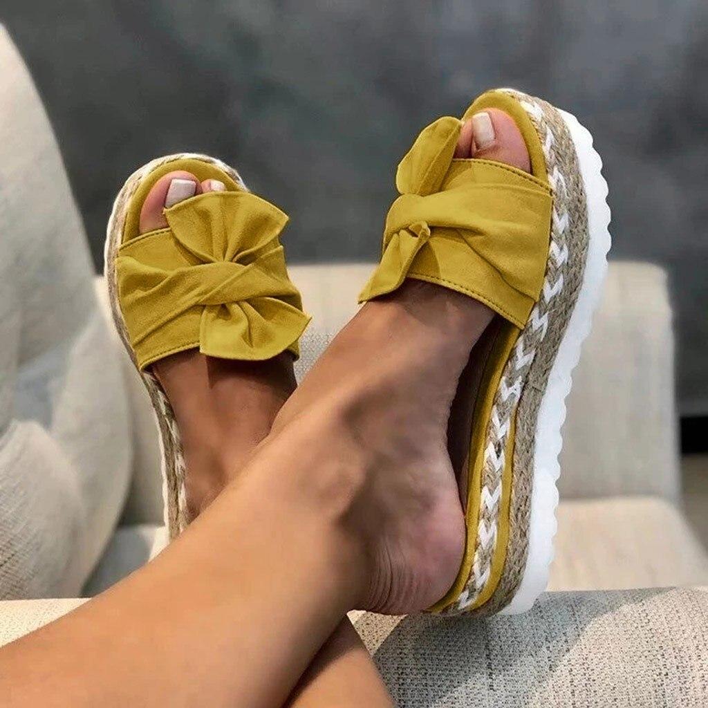 2020 de moda Slip-On arco Sandalias planas zapatos de mujer novedad de verano sandalias zapatilla de interior al aire libre de Flip-flops chinelas zapatos para la playa A529