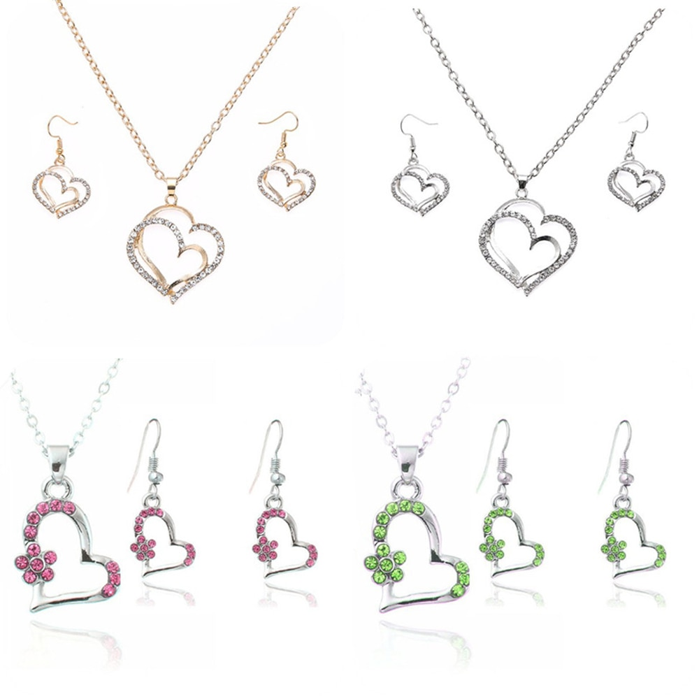 Luxury Bridal Necklace Earrings Set Elegant Turkish Crystal Heart Flower Shape Pendant Necklace/Earrings Wedding Gift Jewelry