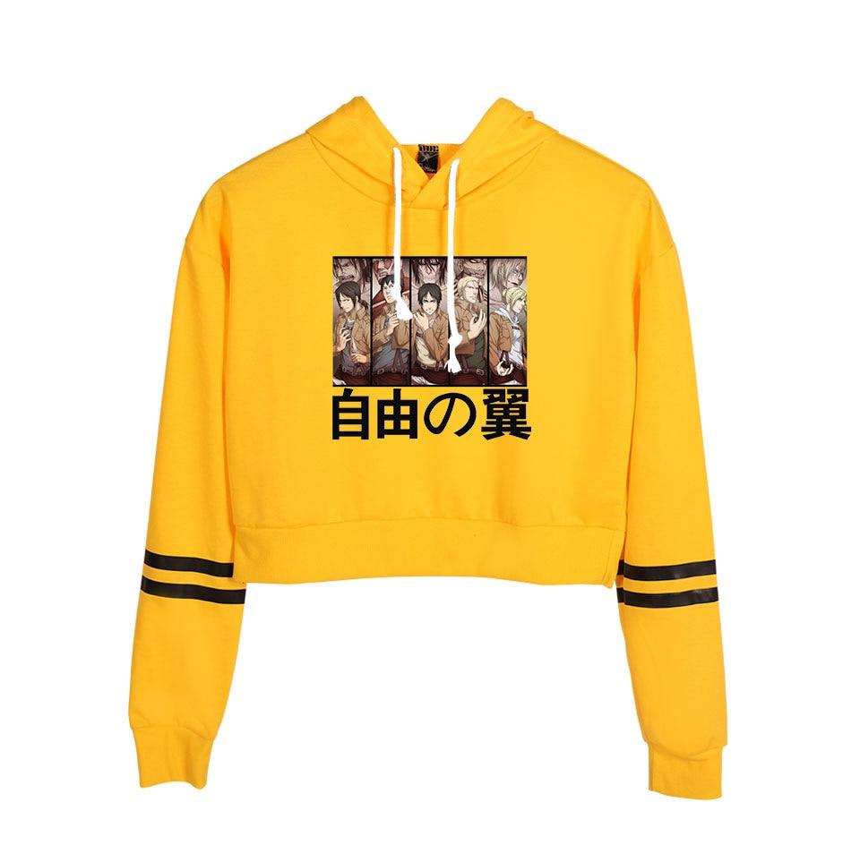 Anime ataque en Titán amarillo Top Sudadera con capucha de las mujeres kyogin Shingeki No Harajuku Short Jumper sudadera Cropped Cosplay traje