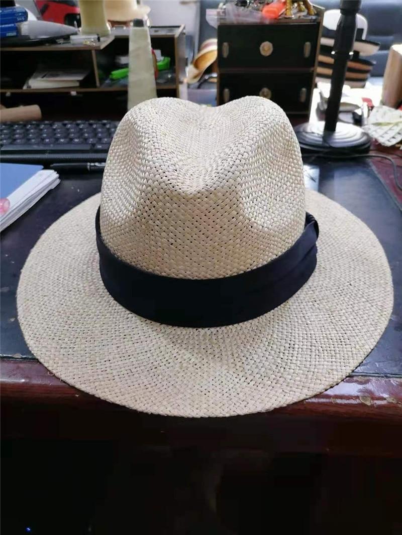 10 قطعة سعر الجملة 202107-xifa جديد الصيف اليدوية السيزال العشب الصلبة فيدوراس قبعة الرجال النساء بنما الجاز قبعة