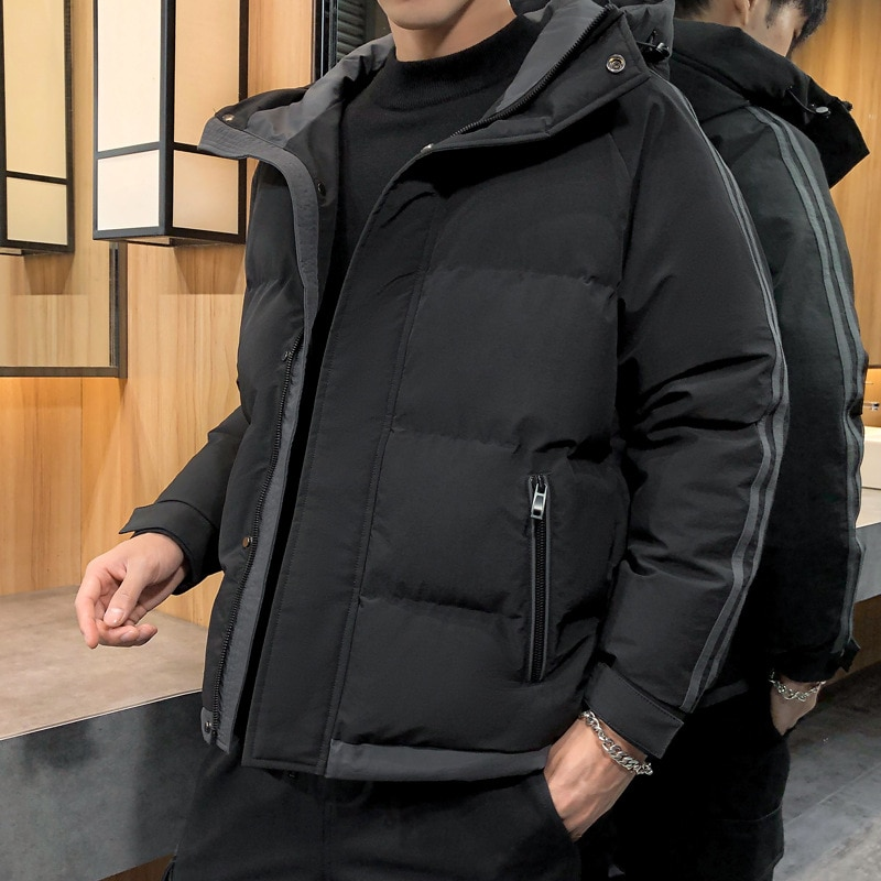 Зимнее пальто, куртка контрастных цветов с капюшоном, стеганая куртка, Мужская Корейская версия мужских курток с хлопковой подкладкой