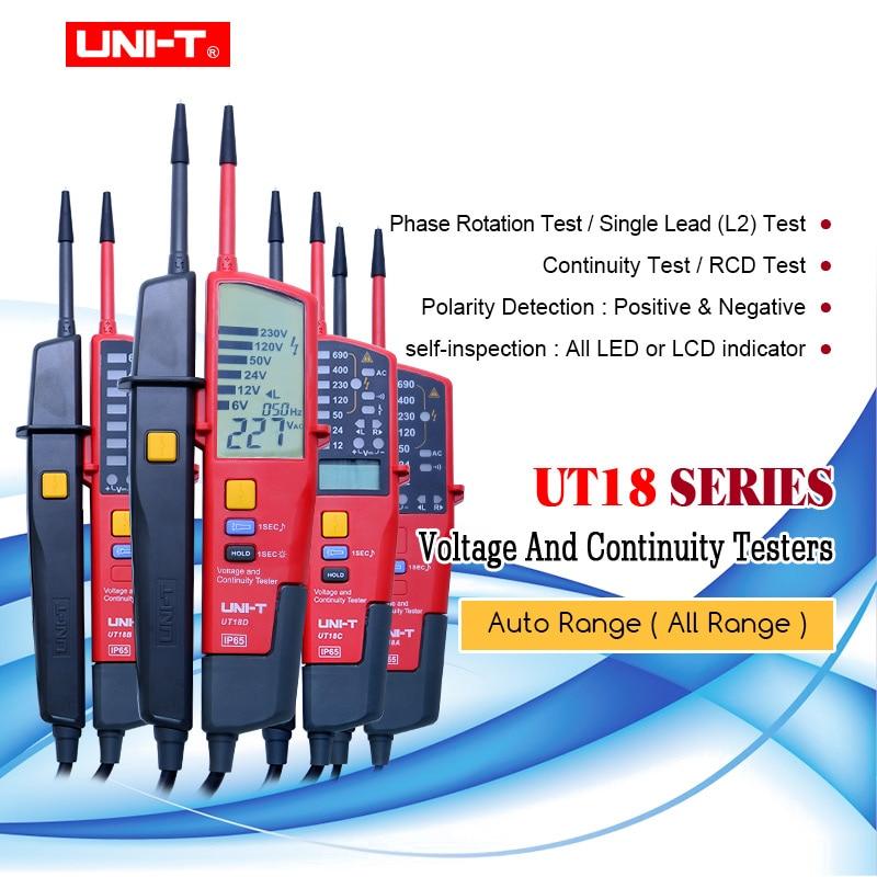 UNI-T UT18 серия ручной тестер напряжения и непрерывности 3-фазный тестер напряжения и последовательности фаз/испытание ВКЛ-ВЫКЛ/Тест RCD