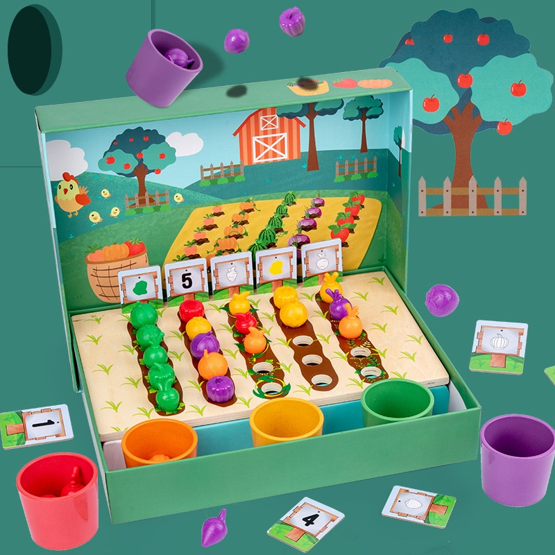 Children's Wooden Fruit And Vegetable Farm Toys Color Cognitive Classification Children's Interactive Digital Matching Toy Gift digital interactive installations