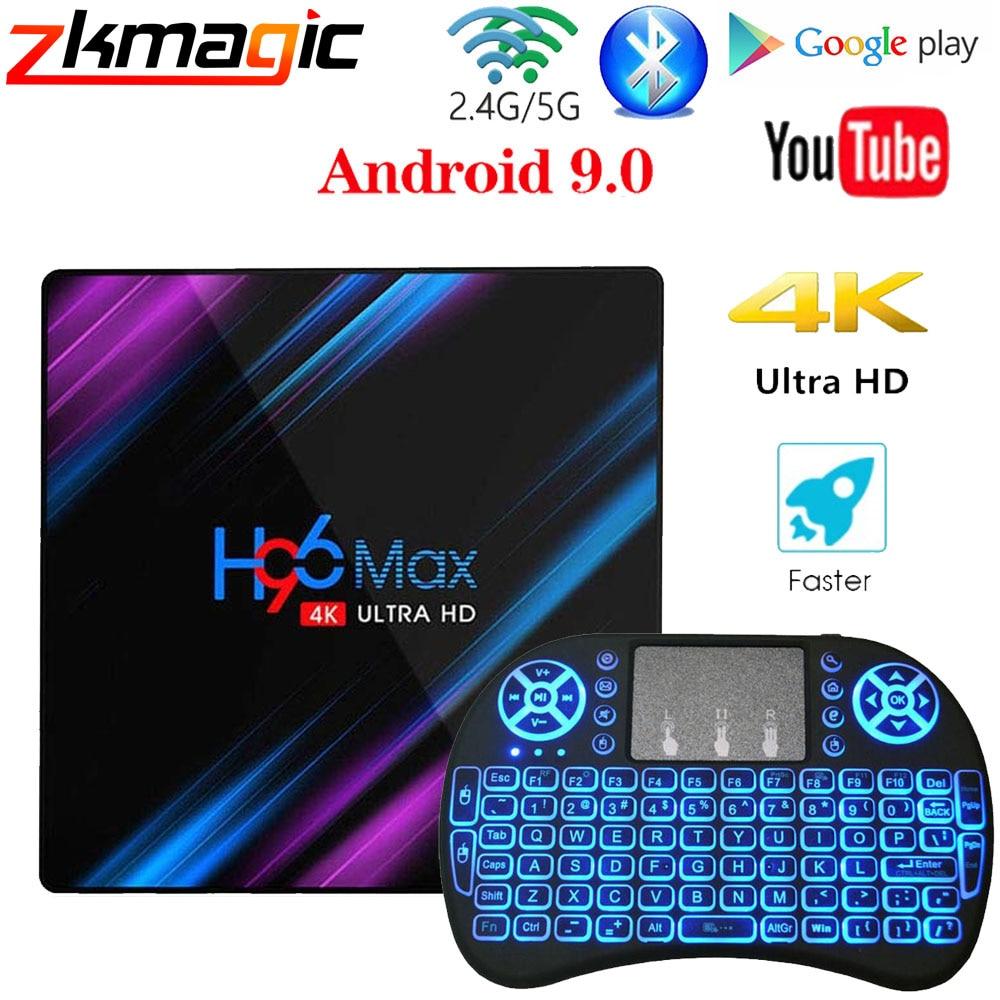 H96 MAX Android 9.0 TV Box Rockchip RK3318 4GB RAM 64GB 32GB H.265 Media player 4K Google Voice Assistant Netflix Youtube TV Box